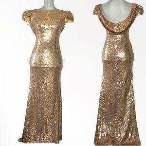 Gold sequin cap sleeve formal dress